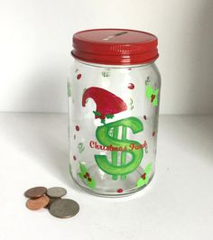 Personalized Handpainted Mason Jar Bank  by GingerspiceStudio