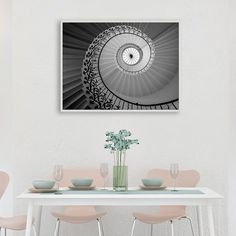 Spiral Staircase Print, Stairs Wall Art, White Stairway Photography, Architecture Poster, Architect Decor, Travel Decor, Europe, Printable
