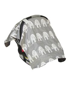 Gray & White Elephant Car Seat & Stroller Canopy