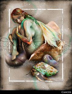 Cancer ... ZODAIC Fairy Fantasy Art... Crab Shell... Fairy Art... Hermit Crab