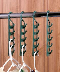 I need to find these for our RV. Set of 4 Space-Saving Hangers- genius idiea!