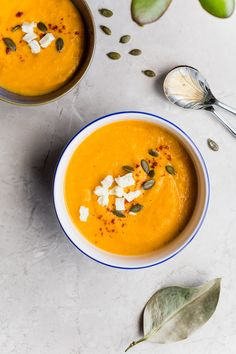 As much as I love Thai food and the flavor of coconut and curry, I still didn't think I'd be a huge fan of this soup - boy was I wrong. SO simple and delicious! Pumpkin Curry Soup, Butternut Squash Soup, Apple Soup, Pumpkin Spice, Pumpkin Bread, Spiced Pumpkin, Vegan Pumpkin, Lentil Soup, Asparagus