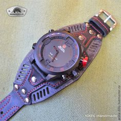 Купить или заказать Часы 'Черная акула' в интернет-магазине на Ярмарке Мастеров. Часы Shark на эксклюзивном ремешке агрессивного дизайна.