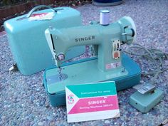 Jade Goddess  vintage Singer 185J Sewing Machine by Quaintrelle-its the green bean machine!