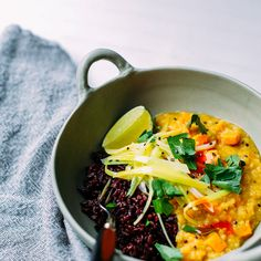 Ginger Sweet Potato Dal With Coconut Leeks