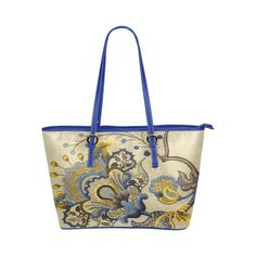 Beautiful Blue Gold Jacobean Floral Pattern Leather Tote Bag/Large (Model 1651)