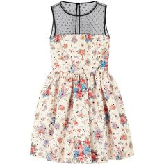 RED Valentino Floral Satin Twill Dress ($1,035) ❤ liked on Polyvore featuring dresses, vestidos, short dresses, valentino, ivory, floral cocktail dress, skater skirt, white floral dress, white circle skirt and white dress