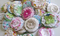 Fabric Posy Embellishments from Itty Bitty Pretty $12.50 for 5