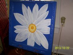 Antique window painting, White daisy on bright blue