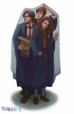 Harry Potter Ron and Hermione under invisibility cloak drawing Harry Potter Fan Art, Images Harry Potter, Harry Potter Drawings, Harry James Potter, Harry Potter Characters, Harry Potter Universal, Harry Potter Memes, Harry Potter World, Harry Potter Tattoos
