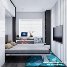 Thiết kế nội thất chung cư Lexington Residence gia đình chị Vân - Thiết kế nội thất nhà đẹp - Homedesign360 Bedroom Setup, Room Design Bedroom, Teen Bedroom Designs, Bedroom Furniture Design, Home Room Design, Bedroom Layouts, Small Room Bedroom, Home Decor Bedroom, Small Room Interior