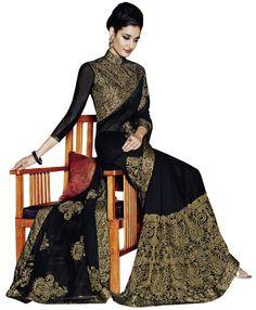 Designer Black Art Silk Party Wear Saree With Blouse-46040