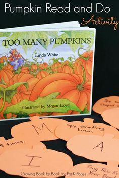 "Fall and #Halloween themed story time book and alphabet activity with ""Too Many Pumpkins."" Via @pre-kpages.com (Pinned by Super Simple Songs)"