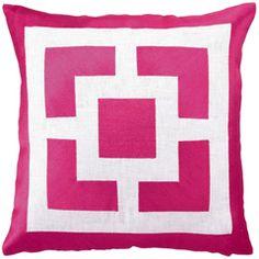Trina Turk Pillow Embroidered Linen Palm Springs Blocks Pink PH24TT29PKC20SQ