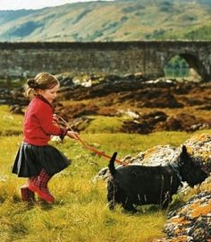 Too much cuteness... love this adorable little sweetie sporting wellies with her Scottie dog!