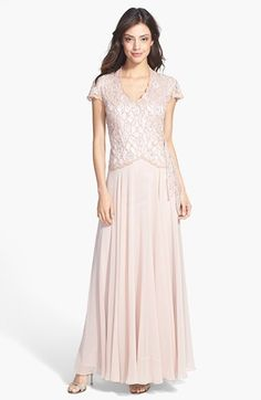 Free shipping and returns on J Kara Side Tie Mock Two Piece Gown at Nordstrom.com. An artfully beaded faux-wrap bodice with scalloped edges ties at the side of an elegant blush-hued gown topped with flutter sleeves.