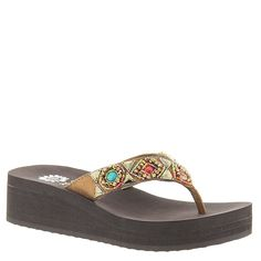 Yellow Box Women's Azteck Bronze Multi Sandal. Feel like royalty in these posh flip flops!. Rhinestone-covered suede leather upper. Thong style wear. Man-made lining. Cushioned footbed. Wedge heel. Rubber outsole. Imported. Measurements: Heel Height: 1 3⁄4 in Weight: 6 oz Platform Height: 1 in Product measurements were taken using size 9, width M. Please note that measurements may vary by size.