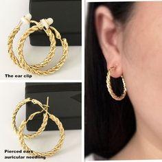 Earring hemp pattern  fashion jewelry ear ear ring  Earrings without pierced ears sister Earrings