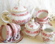 vintage tea service porcelain teapot vintage tea set red tea set Seltmann Weiden red china tea service