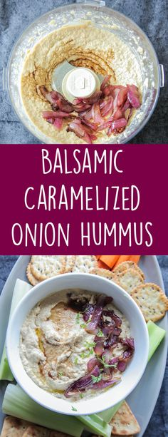Balsamic Caramelized Onion Hummus (Vegan + Gluten Free) – A creamy flavorful hummus that's loaded with balsamic vinegar and caramelized onions. Perfect for dipping veggies, crackers, or using in sandwiches. Healthy Afternoon Snacks, Healthy Snacks, Healthy Eating, Vegan Appetizers, Appetizer Recipes, Appetizer Dips, Recipes Dinner, Vegan Hummus, Hummus Recipe