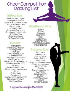 Ultimate Cheer Competition Packing List! Always be prepared, you never know what you'll need! Cheer Tryouts, Team Cheer, Cheer Athletics, Football Cheer, Cheer Stunts, Cheer Coaches, Cheer Dance, Cheer Mom, Cheerleading Accessories