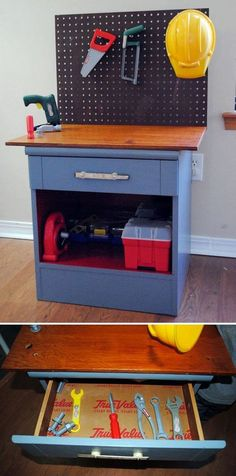 Turn an Old Night Stand to a Craft Bench for Kids