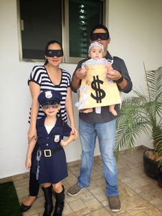 Family costume idea: bank robbers police officer and money bag cute kids toddler baby halloween costumes