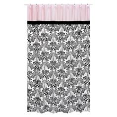 Sophia Shower Curtain Black Pink
