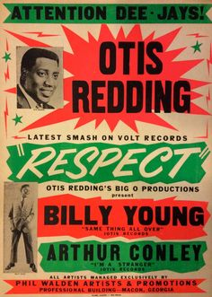 "5D8C98C7511E4CB59194B1C8F2FE7ECE Otis Redding – 1965 ""Respect"" Boxing-Style Globe Promotional Poster"