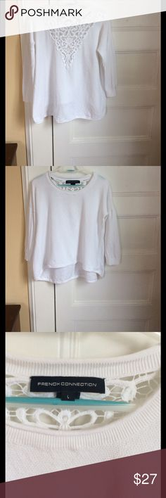 """French Connection lace back sweater size L EUC French Connection sweater, drop shoulder, high low roll hem, lace inset on back, textured knit. Size L, excellent condition, no snags, one small spot on back of left sleeve. Bra doesn't show through back, lightweight but not see through. 20.5"""" long in front, 25"""" long back. 20.5"""" from pit to pit. French Connection Sweaters Crew & Scoop Necks"""