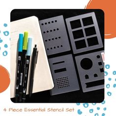 This 4 Piece Essential Set of bullet journaling stencils is a life saver! You can make so many layouts with them. Hop over here to grab yours. #bulletjournal #productivity February Bullet Journal, Bullet Journal Spread, Bullet Journal Layout, Bullet Journal Inspiration, Journal Ideas, Time Management Techniques, Bullet Journal Stencils, Weekly Spread, Watercolor Techniques
