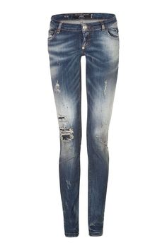 Super sexy low-rise slim fit jeans with a sparkling skull face applied on the back as a symbol of the brand. Style them with a shiny top and a pair of high heel pumps. Shop this seasons collection of Philipp Plein womenswear. Philipp Plein is pure luxury, with his latest womenswear collection embodying the designers rebel streak and glamorous ideals, making the Philipp Plein brand instantly recognisable.  FW14-CW584052