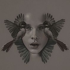 Aykut Aydoğdu {contemporary #surrealism art beautiful female head symmetrical young woman face with birds painting #loveart}