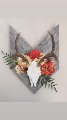 Deer Skull Decor, Moose Skull, Painted Deer Skulls, Antler Wall Decor, Cow Skull, Deer Antler Crafts, Antler Art, Antler Mount, Deer Mount Decor