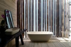 Interior detail of The Bamboo Curtain House in Singapore by Eco-id Architects