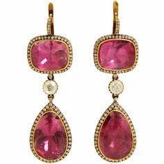 Munnu Pink Tourmaline & Diamond Triple-Drop Earrings at Barneys.com