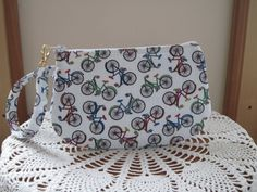 BICYCLES Wristlet Pouch Clutch Smart phone Case Gadget Pouch Clutch t Zipper - pinned by pin4etsy.com