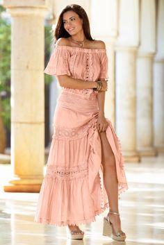 Boho Style | Women's Blush Pink Crochet Mix Maxi Skirt by Boston Proper.