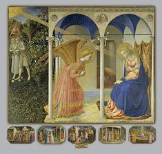"""Fra Angelico (1400-1455) - """"L'Annonciation de 1426"""" (Retable dans son entier) - Tempera & or sur bois, 194 × 194 cm (avec la prédelle) - Couvent San Domenico de Fiesole, aujourd'hui conservée au musée du Prado de Madrid - Sous le panneau central du retable, une prédelle comporte plusieurs panneaux des scènes de la Vie de Marie."""