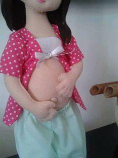 Boneca grávida com molde