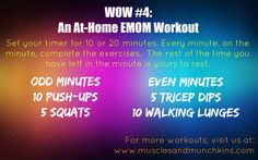 At home, no equipment needed EMOM workout. Strength Training Workouts, Training Plan, Weight Training, Crossfit At Home, Crossfit Baby, Crossfit Wods, Boot Camp Workout, Workout Gear, Emom Workout