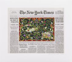 On the September 15, 2005 edition of The New York Times, Fred Tomaselli alters the disturbing front page image of bomb victims in Baghdad, drawing over the photograph with a colorful flower pattern. The swirling vines, reminiscent of traditional Islamic arabesques, distract from the horror of the subject, a suicide bombing that killed nearly 150 people in Iraq.