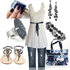 Navy and White, created by wishesndreams on Polyvore