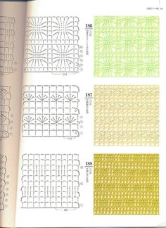 Irish lace, crochet, crochet patterns, clothing and decorations for the house, crocheted. Crochet Stitches Chart, Crochet Motifs, Filet Crochet, Knitting Stitches, Granny Square Häkelanleitung, Granny Square Crochet Pattern, Crochet Diagram, Lace Patterns, Stitch Patterns