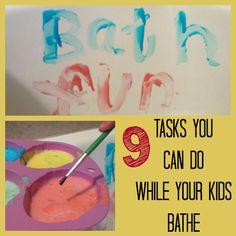 Check these ideas along with the Homemade Bath Paints Recipe!