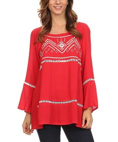 Look at this Lady's World Red Geo Bell-Sleeve Tee - Plus Too on #zulily today!