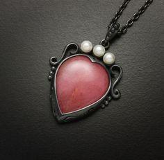 Rhodonite cab heart silhouette silver pendant by KAZNESQ on Etsy, $283.00