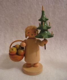 Vtg Wendt Kuhn Erzgebirge Wooden Angel Christmas Tree Basket Germany Gernman