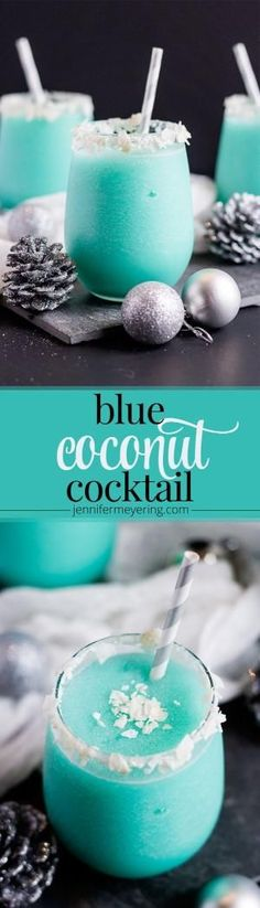 Blue Coconut Cocktail - Vodka, pineapple juice, cream of coconut, and Blue Curacao come together to make a festive and colorful cocktail. -(I think I'd use coconut rum instead of vodka. Cocktails Vodka, Cocktail Drinks, Cocktail Recipes, Alcoholic Drinks, Martinis, Drink Recipes, Drambuie Cocktails, Vegan Recipes, Gastronomia