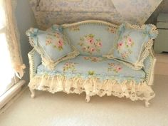french shabby chic sofa-1/12 scale by Mondinadollhouse on Etsy